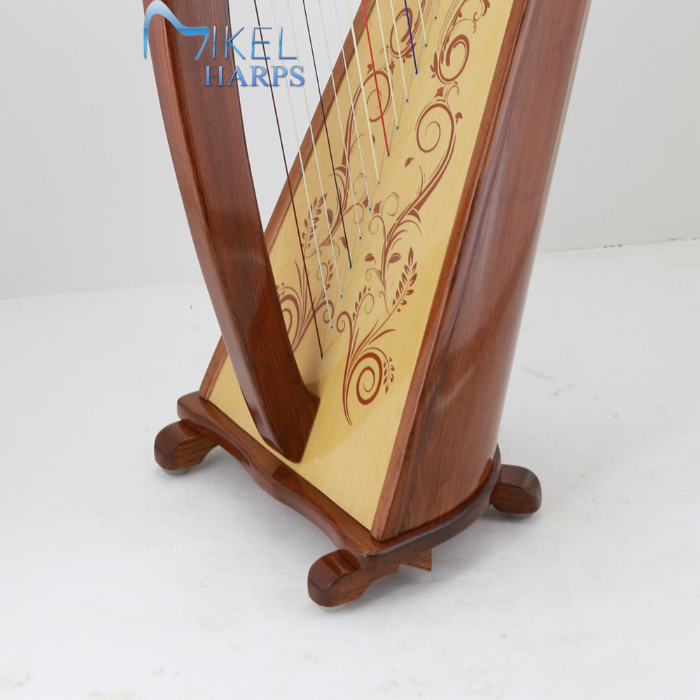 34 string lever harp soundboard decor