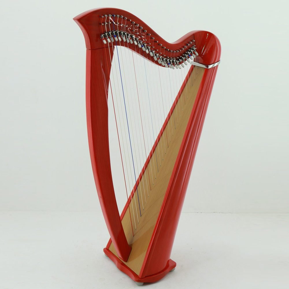 27 string harp red finish