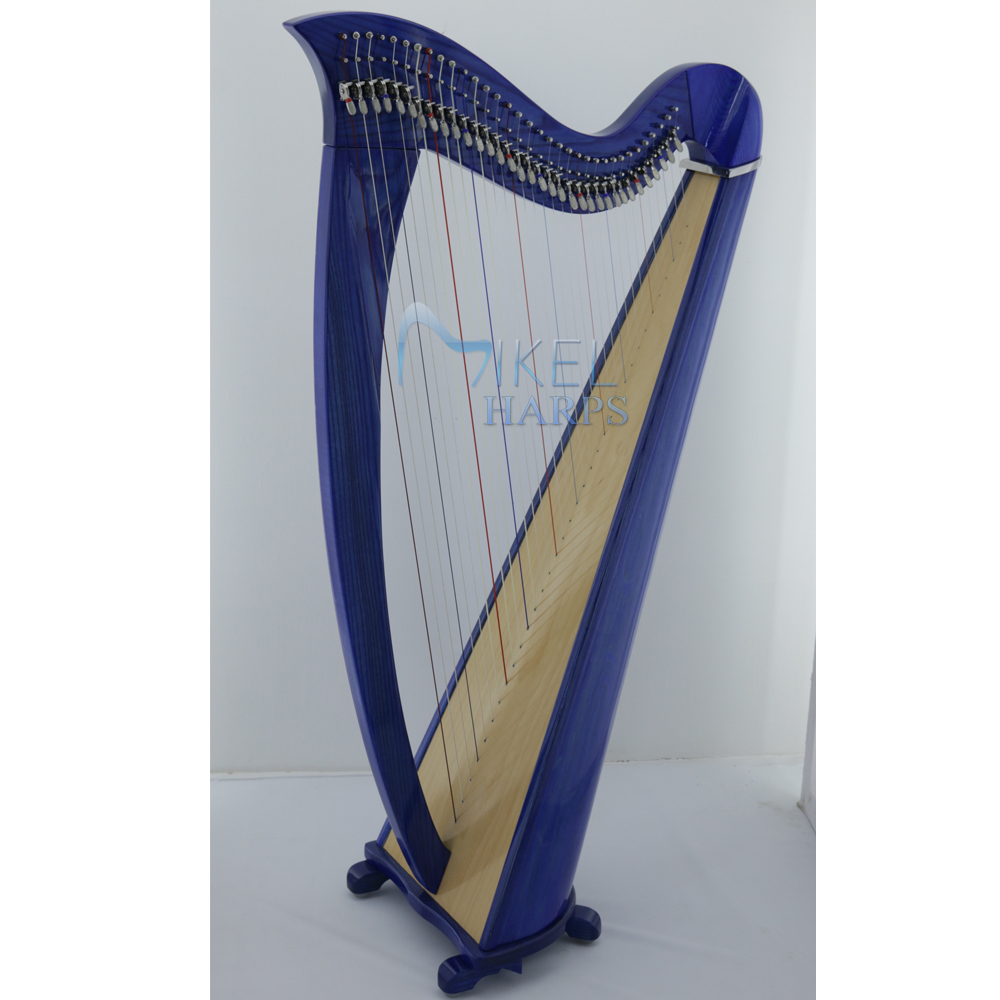 34 string harp blue finish