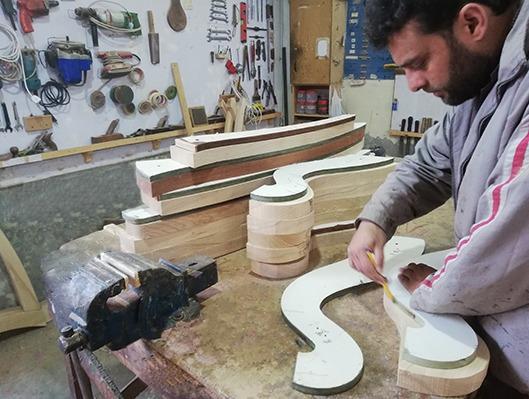 harps wooden cutting