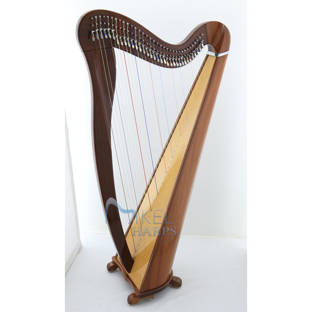 34 string lever harp mahogany finish